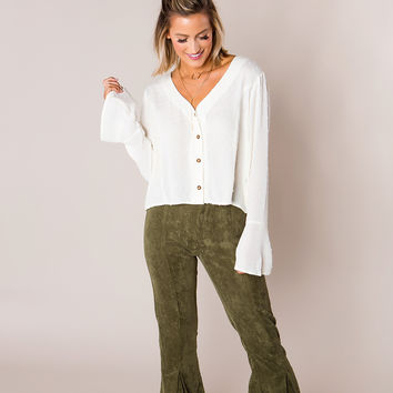 Textured Button V Blouse- Ivory