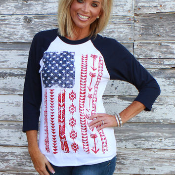 """Live Free"" American Flag 3/4 Sleeve Raglan Top ~ Navy ~ Sizes 4-10"