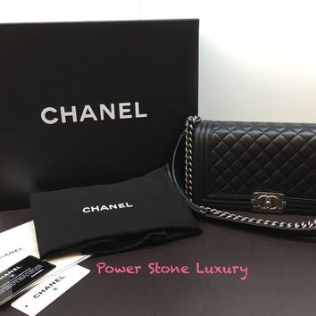 100% Auth Chanel Medium Le Boy Black Quilted Let her Flap Bag SHW