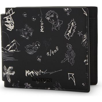 Landscape Graffiti Leather Wallet by Lanvin