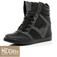 Black wedge high tops