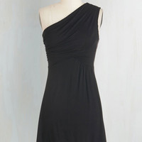 LBD Short Length One Shoulder Midnight Sun Dress in Black by ModCloth