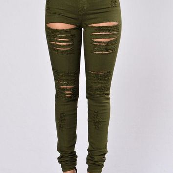 VONE05F Day First Roll Out Jeans - Olive