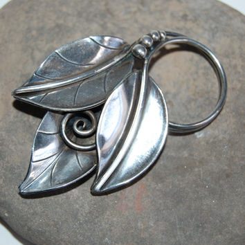 La Paglia Georg Jensen Modernist Sterling Leaf Brooch 216 Designer Vintage Midcentury Jewelry Collectibles International Silver