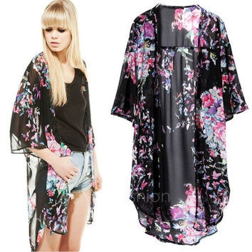 Women's Vintage Retro Ladies Butterfly Floral Print Long Hippie Kimono Coat Cape Blazer Jacket Tops VVF = 5709641345