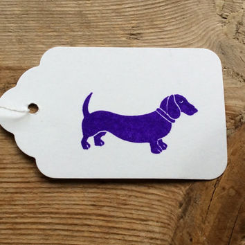 White scalloped tag with dachshund dog design - small white labels - wedding tags - gift tags - stationary uk - dog stationary - birthday uk