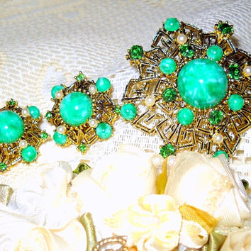 Vintage Art Deco Green Peking Glass Jewelry Set, Emerald Rhinestones, Seed Pearls