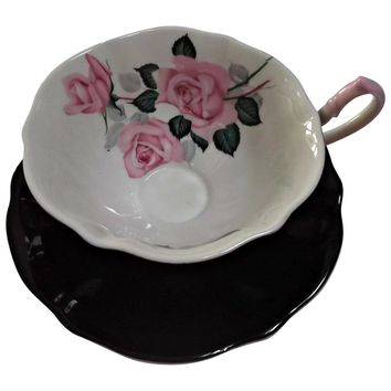 Queen Anne Bone China Teacup Saucer Set Black White with Pink Roses