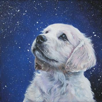 Golden Retriever dog art CANVAS print of LA Shepard painting 12x12