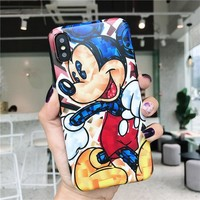 Mickey phone Cases for iphone X XR XS XS Max Cartoon Matte Soft TPU case For iphone 6 6s 7 8 plus back cover