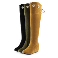 Fashion Women Knee High Boots for Autumn and Winter New Arrive Flower Zipper 3169