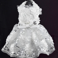 White Flowered Dog Harness Dress