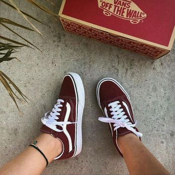 Vans Classics Old Skool New Fashion Green/Wine red Couple Sneaker Shoes