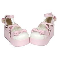 Handmade Pink PU Leather White Wavy Edge 6cm Platform Sweet Lolita Shoes - USD $ 84.99