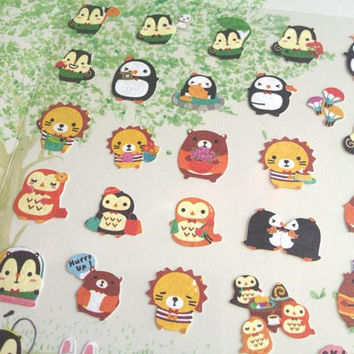 lovely animal sticker farm animal forest animal label penguin lion owl squirrel rabbit cutest little icon baby animal scrapbook craft gift