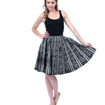 Authentic Vintage Black & Silver Sequin Cactus Flare Skirt