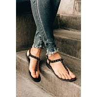 Lost In Yesterday Studded Jelly Sandals (Black)
