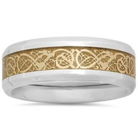 Stainless Steel Yellow Ion-Plated Celtic Inlay Men's Wedding Band