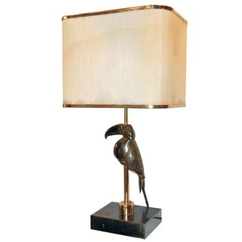 1970s Lamp with a Bronze Toucan