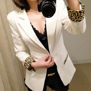White Lapel Collar Long Sleeves Leopard Cuffs Blazer