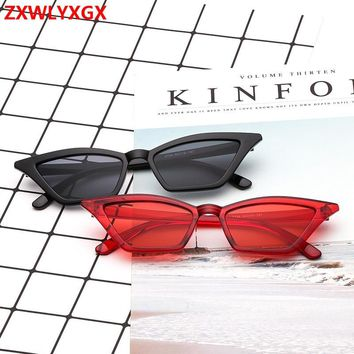 ZXWLYXGX 2018 new sunglasses women brand design retro colorful transparent colorful fashion cateye sun glasses men UV400