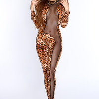 Leopard Print Long Sleeve with Mesh Accent Jumpsuit