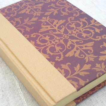 Burgundy and beige leaf pattern small journal