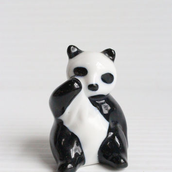 CERAMIC PANDA BEAR, Decorative Vintage Figure, retro figure, black and white figure, ceramic figure, ceramic animal figure, collectible