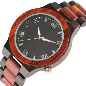 YISUYA Romas Numerals Full Bamboo Wood Watches Hidden Clasp Wood Band Red Sandalwood Quartz Creative Wrist Watch Xmas Men Boy