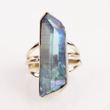 Caged Blue Aqua Aura Crystal Ring Sz 5 Blu Crystal Ring Sterling Aqua Aura Ring Aura Quartz Ring Angel Aura Cactus Quartz Crystal Point Ring