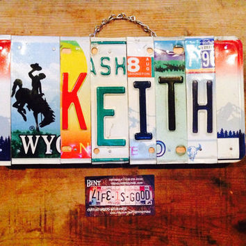 Boys. Baby. Cowboy. Western. Decor. Keith. Handmade. Licenseplate. Customname. Giftidea. Nursery decor