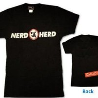 Chuck Nerd Herd Logo Black Adult T-Shirt