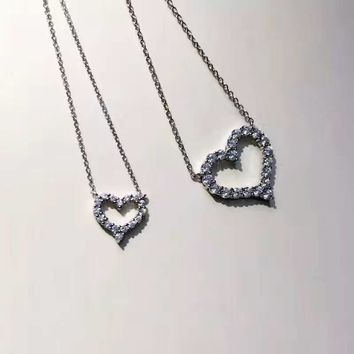 Tiffany Fashion 925 sterling silver heart-shaped diamond necklace high quality