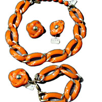 Orange Necklace Bracelet Earring Set 1950's Original Tags