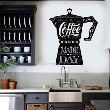 Coffee Maker Quote Vinyl Wall Sticker Cafe Shop Kitchen Stickers Wall Decal Fashion Quality Mural Modern Home Decor Design LA517