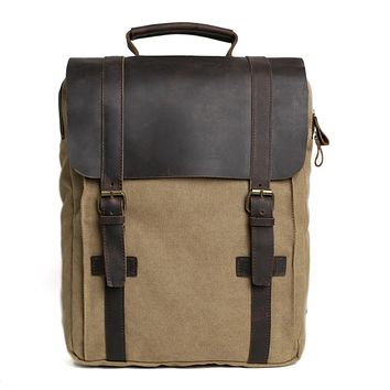 Waxed Canvas and Leather Double Strap Backpack - Khaki
