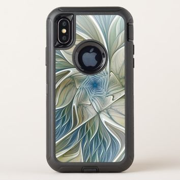 Floral Dream Pattern Abstract Blue Khaki Fractal OtterBox Defender iPhone X Case