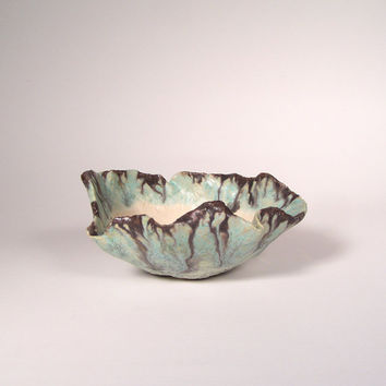Copper Green Bonsai Accent Pot, Glazed Turqouise and Gray Kusamono Planter, Small Flower Pot