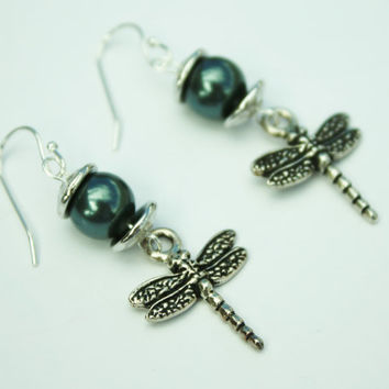 Tahitian Bead Earrings, Antique Silver, Dragonflies, Holidays, Gifts under 20.00, Fashion Jewelry, Aqua Accent, For Her