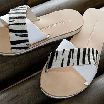 leather sandals , sandals , with zebra skin strapped and white genuine leather, women's sandals , women's shoes , daughter sandal , sandals