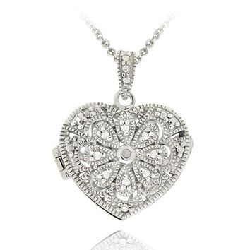 Sterling Silver Diamond Accent Filigree Heart Locket Necklace