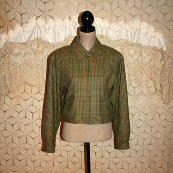 Vintage 80s Jacket Hipster Wool Green Houndstooth Plaid Fall Jacket Zipper Zip Up Cropped 80s Clothing Carlisle Size Large Womens Clothing