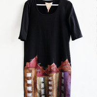 Hand Painted Black Cotton Dress Tunic Houses  Size L