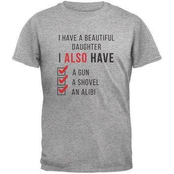 LMFON Father's Day I Have a Beautiful Daughter Heather Grey Adult T-Shirt