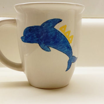 Tri Delta Sorority Dolphin Hand Painted 14 oz Mug