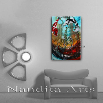 Large Seascape Painting - Turquoise Blue Sea - Contemporary Art on canvas Coral Under Water koi Fish Animal Children Room Decor Art Artwork