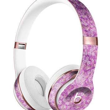Scratched Purple Grunge Floral Pattern Full-Body Skin Kit for the Beats by Dre Solo 3 Wireless Headphones