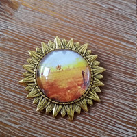 Country Setting Photograph Cabochon Gold Brooch