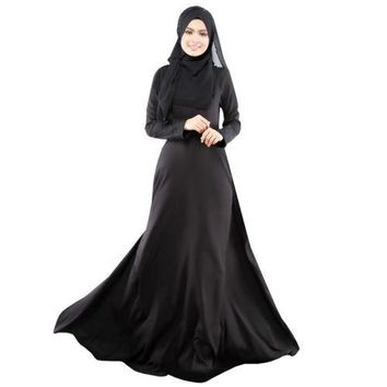Lady Women Round Neck Muslimah Abaya Lace Cuffs Dress Women Robe Clothing (Black)