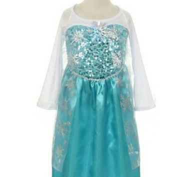 SALE- Elsa costume with matching  crown. Great for Birthday party, Halloween costume or dress up. Limited quatities. Frozen